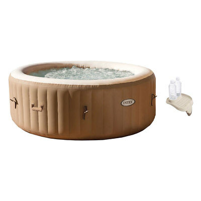 Intex PureSpa 4-Person Inflatable Bubble Spa Portable Hot Tub + Cup Holder Tray