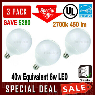 3pcs Vanity G25 6W Led Bulb Globe Light Dimmable 40W Equivalent 2700k Warm White 40w White Globe Bulb