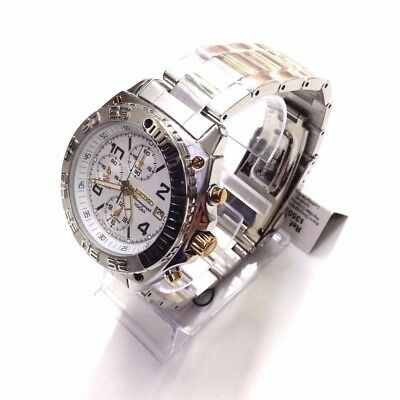 SEIKO Men's Silver Gold Two Tone Stainless Steel Chronograph Quartz Watch SNA619