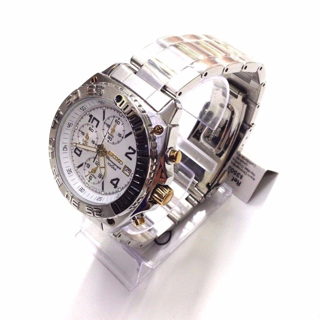 Mens Watches - SEIKO Men's Silver Gold Two Tone Stainless Steel Chronograph Quartz Watch SNA619