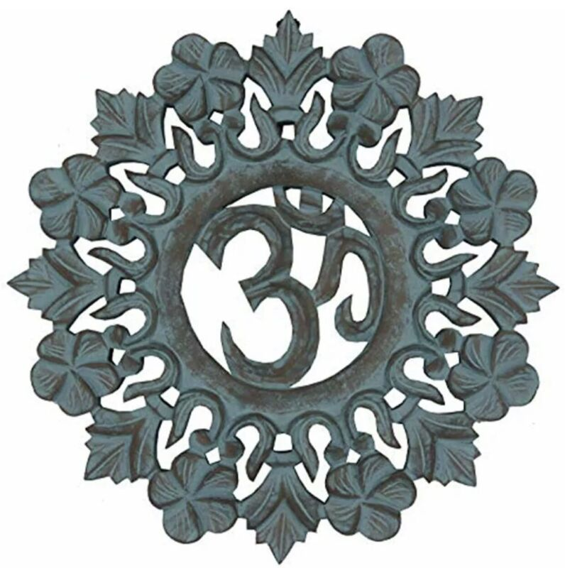 DharmaObjects Handcrafted Wooden Om Wall Decor Hanging Art (OM Turquoise) Home