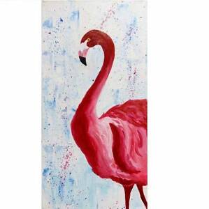 Acrylic flamingo painting on canvas Lane Cove North Lane Cove Area Preview