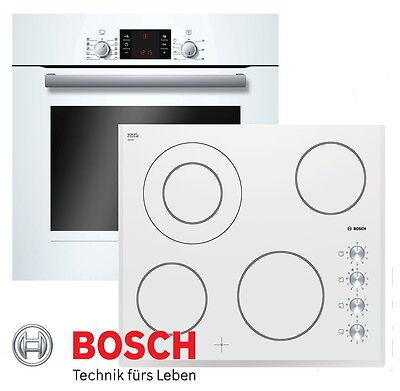 BOSCH Herdset Autark Weiß Backofen Umluft + Glaskeramik Kochfeld 60cm NEU