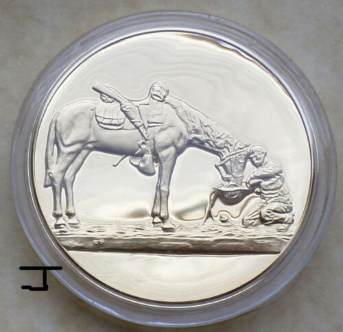 "Cowboy Horse 24K Gold on Bronze Art Medal ""The Last Drop"" Charles Schreyvogel"