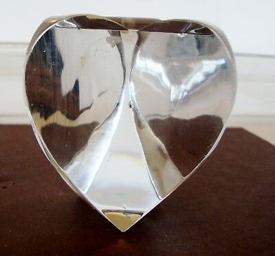 "DANSK 3 SIDED HEART PAPERWEIGHT 24% CRYSTAL MADE IN POLAND 2.75"" TALL-G28"
