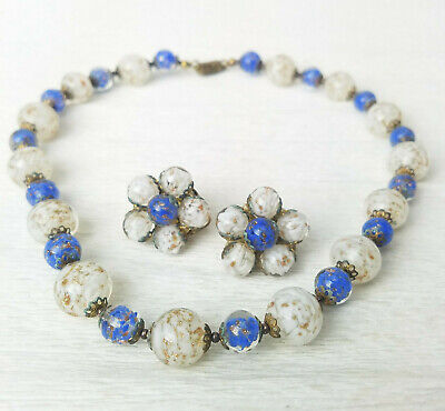 VTG Venetian White Blue Aventurine Sommerso Knotted Necklace Cluster Earrings  ()