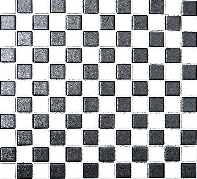 NON-SLIP BLACK&WHITE Mosaic tile Ceramic FLOOR BATHROOM 18-0305-R10_f | 10