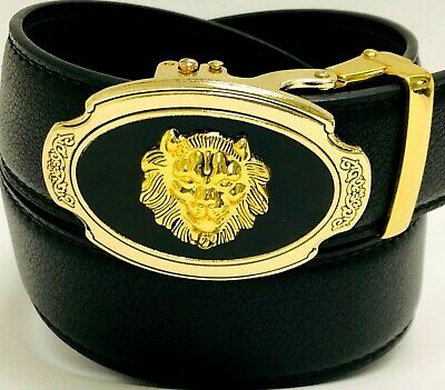 Automatic Oval Silver Gold Buckle Genuine Leather Designer Lion Head Belt Men's - Oval Gold Buckle Belt