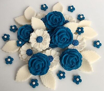 Royal Blue/Ivory Roses Bouquet Wedding Cake Decorations Sugar Cupcake Toppers (Royal Blue Cupcakes)