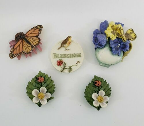 Marjolein Bastin Nature Theme 5 Refrigerator Magnets Ceramic Bird ,Flowers Bugs