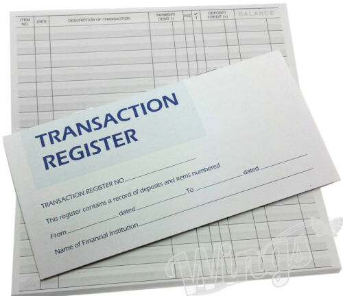 50 Page Checkbook Transaction Registers with 3 Year Current Calendar Set of 100