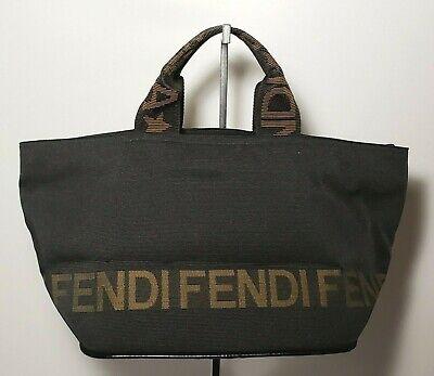 Vintage FENDI Logo Tote Bag Black Nylon Leather Italy