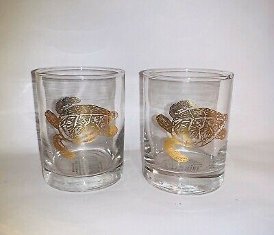 2 NEW Barware Clear Glasses Low Ball Gold Turtle Design 4