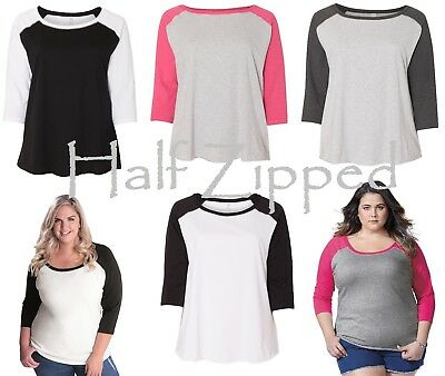 LAT Curvy Collection Women's Baseball T-Shirt Tee 3830 Sizes 14-28 Plus Size