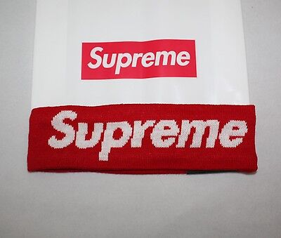 Supreme 2014 FW Era Logo Fleece Lined Red Headband