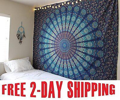 Indian Mandala Tapestry Hippie Wall Hanging Blue Bohemian Bedspread Dorm Decor