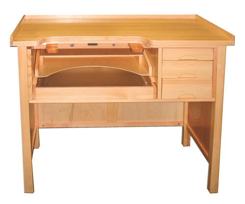 Jewelers Work Bench Jewelry Repair Solid Wood Workbench with Drawers Arts Crafts