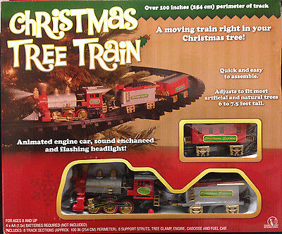 New Faint Sounds ANIMATED CHRISTMAS TRAIN SET Holiday Decoration Mounts in Tree!