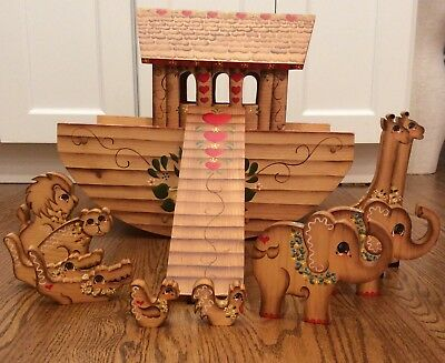Noahs Ark Vtg Folk Art Large Handmade Wood Painted Animals Two By Two Signed