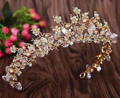 Vintage Bridal Pearl Gold Crown Wedding Rhinestone Crystal Headband Headpiece](Gold Crown Headpiece)