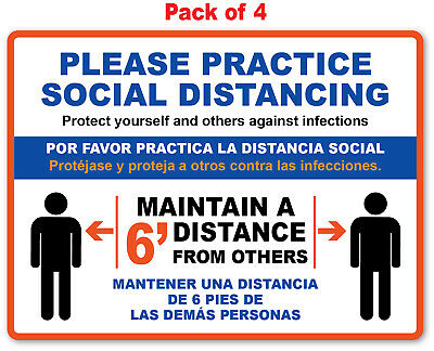 4 - Social Distancing Sticker English Spanish - Sign 19 Virus Business Office
