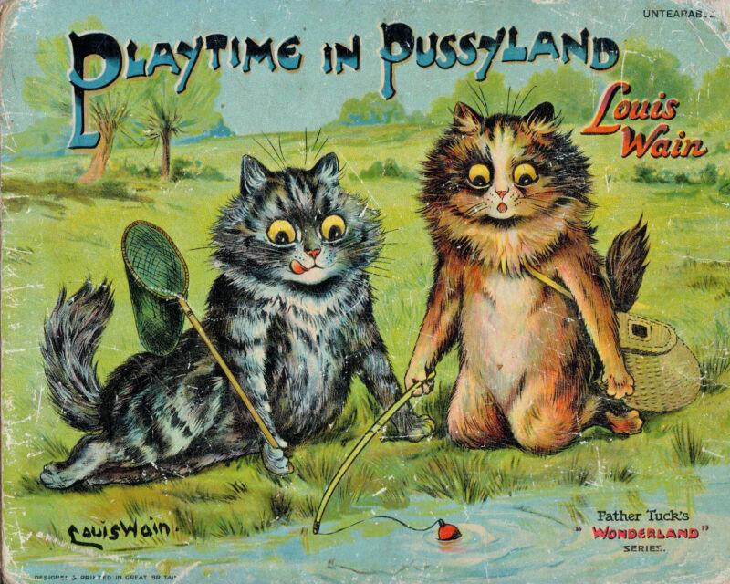 Louis Wain Cats Fishing Fun Cat Painting Hoffman Real Canvas Art Print