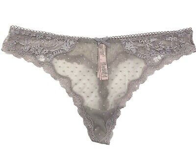 Victorias Secret Dream Angels Sheer Floral Lace Thong Panty Gray Large