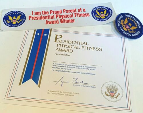 "NEW Vintage Presidential Physical Fitness Award 3"" Patch Sticker Certificate Lot"