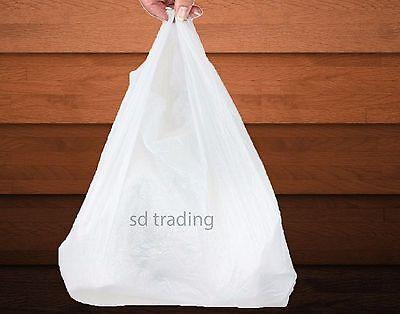"""300 White Plastic Vest Carrier Bags Jumbo Giant 16"""" x 25"""" x 25"""
