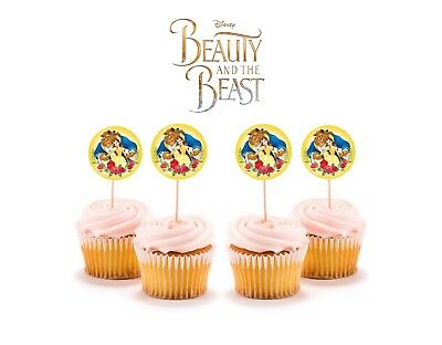 12 Disney Beauty and the Beast Cupcake Cake Toppers Food Picks Favor Party Kids (Beauty And The Beast Decorations)