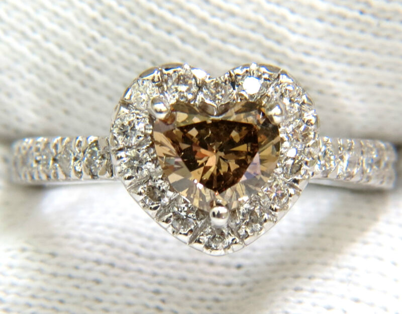 █$6,300 1.37CT NATURAL FANCY BRIGHT BROWN HEART CUT HALO DIAMOND RING 14KT VS█