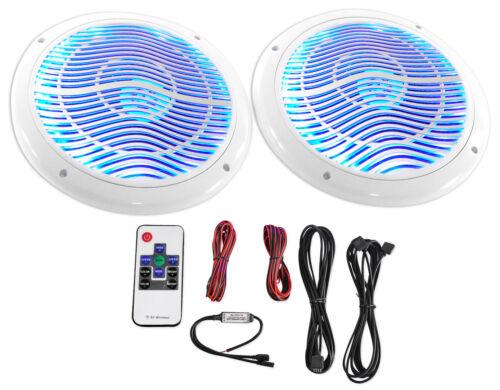 """Rockville RMC65LW 6.5"""" 600w 2-Way White Marine Speakers w/Mu"""