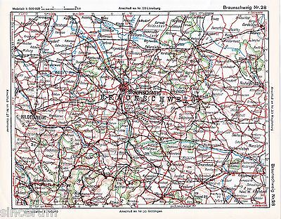 Hildesheim Braunschweig Halberstadt 1925 Autoatlas-Karte Einbeck Goslar Gifhorn