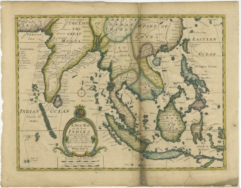 Antique Map of the East Indies by Wells (1712)