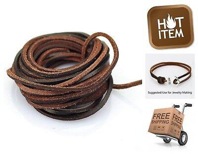 Brown Leather Cord Bracelet - Flat Genuine Leather Strip Cord Braiding String DIY Bracelet Necklace Dark Brown