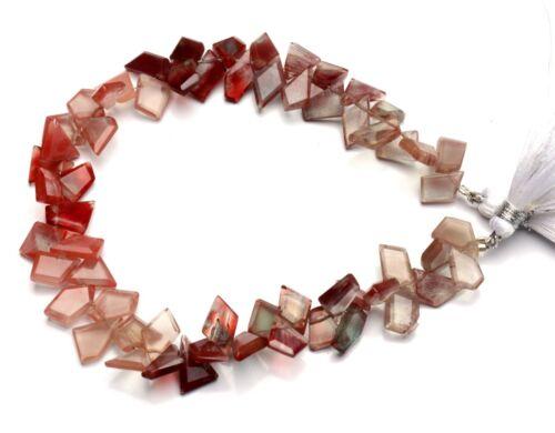 """Natural Gem Andesine Labradorite Faceted Slice Shape Beads 8"""" Strand 73Cts."""