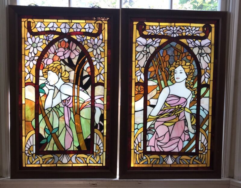 Pr. of Stained Glass Windows, Toscano?, Hand Crafted Art Glass, Woman & Flowers