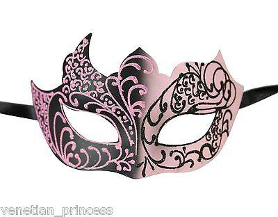 (Pink Black Men's Venetian Mask Masquerade Laser Cut Mardi Gras Wedding Prom )