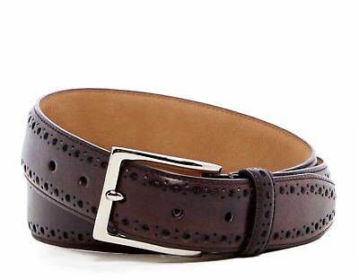 (COLE HAAN FEATHER STITCHED EDGE PERFORATED LEATHER BELT IN CHOCOLATE NEW W/TAGS)