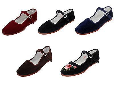 New Womens Velvet Mary Jane Shoes Flat Slip On Ballet Sandals Colors, Sizes 5-11