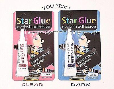 Best Waterproof Eyelash Glue- STAR GLUE Eyelash Adhesive *Pick Dark or (Best Long Lasting Gum)