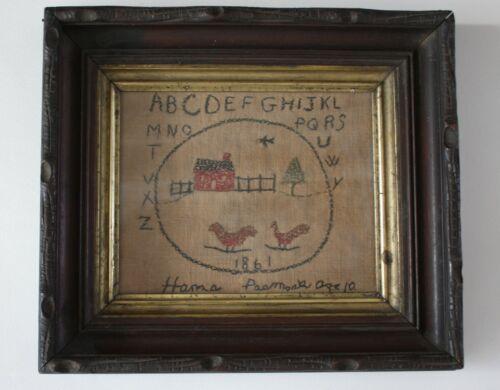 RARE 1861 MAINE ABC LINEN SAMPLER,  PERIOD FRAMED, SIGNED HANA PASMOCK, AGE 10