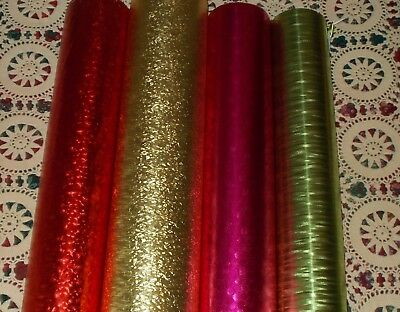 - VTG CHRISTMAS FOIL WRAPPING PAPER GIFT WRAP GOLD RED GREEN NOS 4 SHEETS TEXTURED