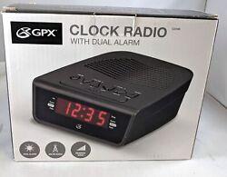GPX C224B Dual Alarm Clock AM/FM Radio w/ Red LED Display