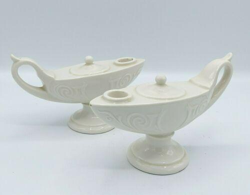 (2) Vintage MCM Ceramic Aladdin Genie Magic Lamp Candle Stick Holders
