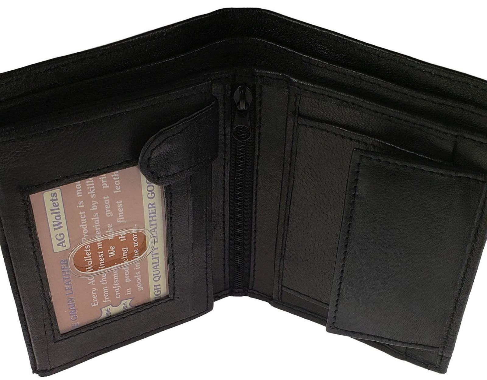 AG Wallets European Black Leather Trifold Wallet-3 ID,8 CC Slots,Change Pocket