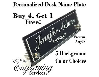 Desk Name Plate Two Tone Acrylic For Office Desk Sign Plaque Custom Engraving