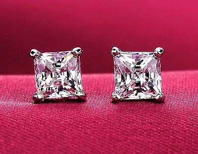 2 ct tw 14K White Gold AAA D-Flawless CZ Stud Earrings SPARKLING 2ct Tw Stud Earrings