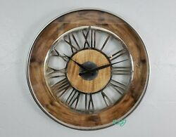 Large Rustic Modern Industrial Natural Wood Silver Metal Wall Clock Home Decor