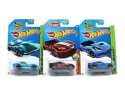 Hot Wheels CORVETTE LOT Grand Sport Stingray 1:64 Diecast Blue Red TREASURE HUNT